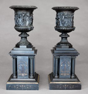 Neo-grec Black Marble And Bronze Garniture Urns