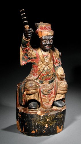 Chinese Polychrome Painted Wood Figure
