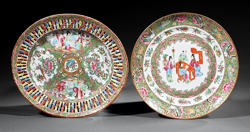 Two Chinese Export Famille Rose Porcelain Dishes