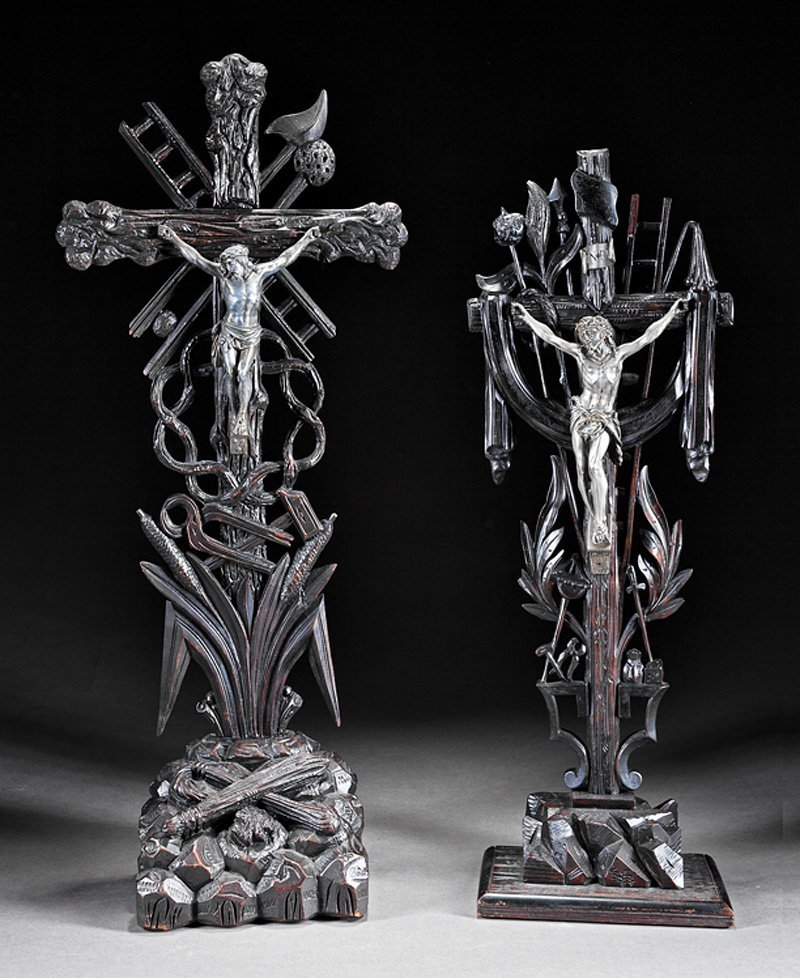 Two Black Forest Carved Walnut Crucifixes
