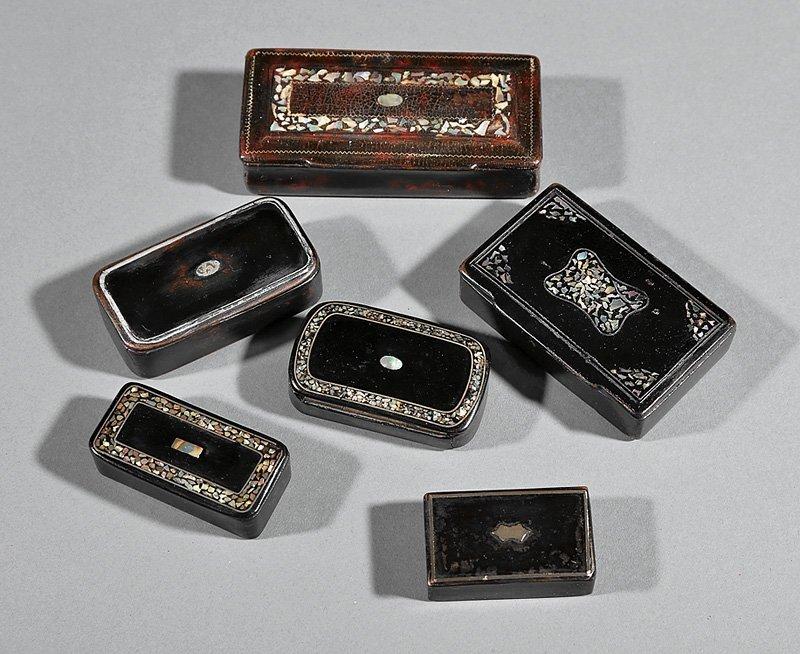 Six English Inlaid Snuff Boxes