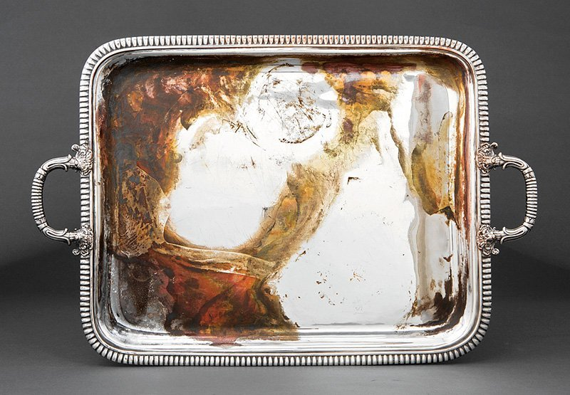French Restauration Fused Silverplate Tea Tray