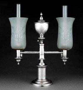 Late Georgian Sheffield Plate Argand Lamps
