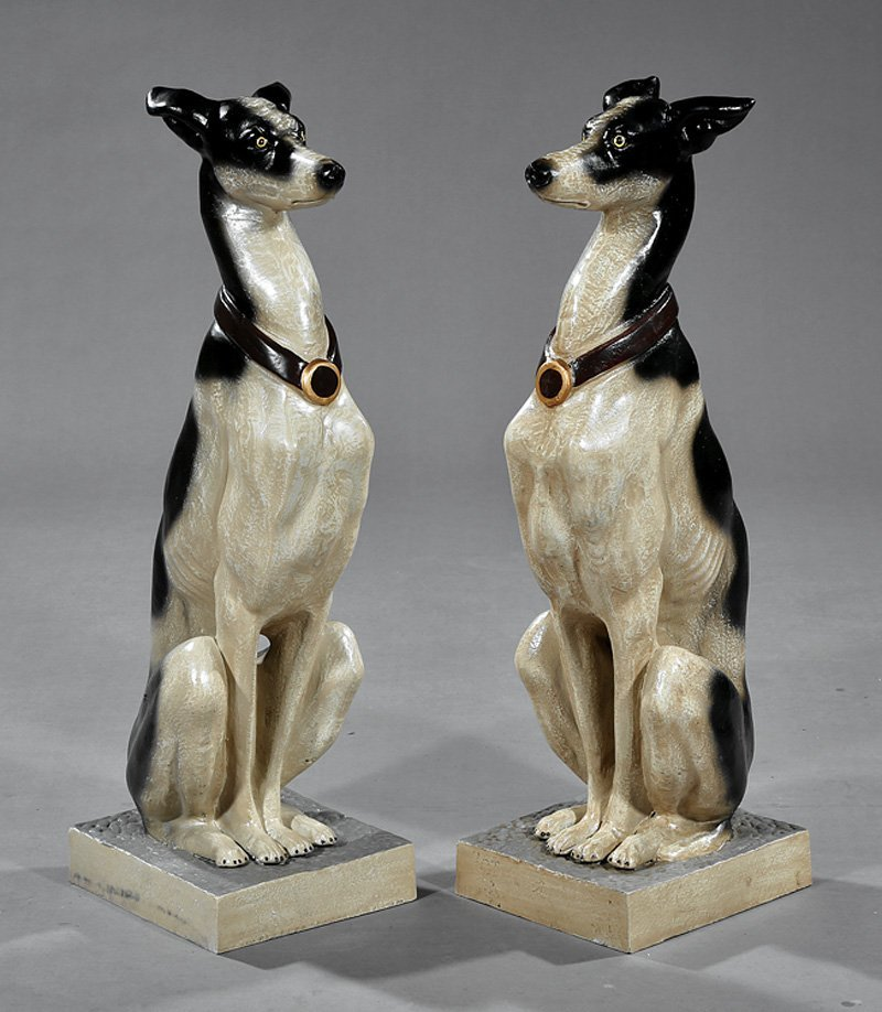Pair of Polychromed Cast Iron Whippets