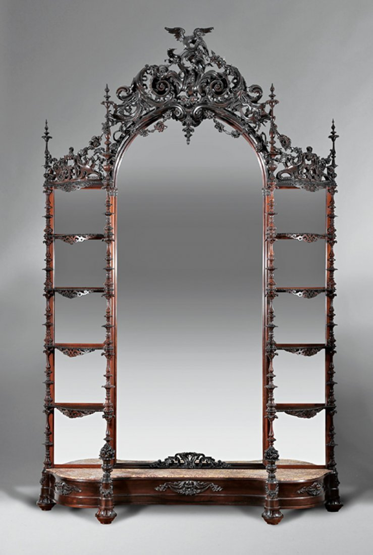 Rococo Carved Rosewood Etagere, attr. Belter