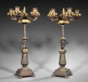 Pair Of French Empire-style Five-light Candelabra