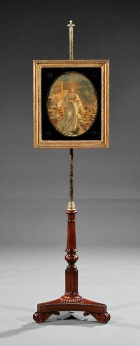 Rosewood, Eglomise, Needlepoint Pole Screen