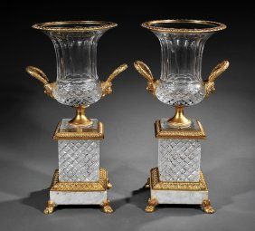 Baccarat-style Bronze-mounted Cut Crystal Urns