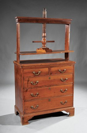 Georgian Carved Walnut Clothes Press On Chest