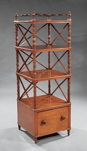 Federal Carved Mahogany Four Tier Etagere