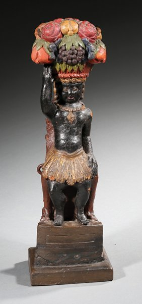 Polychromed Wood Figure Of A Blackamoor