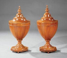 George Iii-style Inlaid Mahogany Cutlery Urns