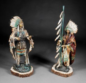 Polychromed Bronze Figures Of Indian Chiefs