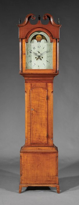 American Late Federal Tiger Maple Tallcase Clock
