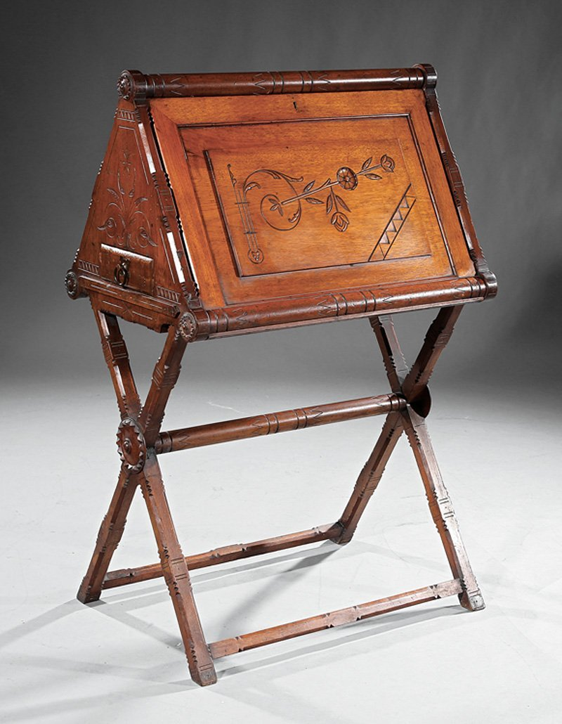 American Aesthetic Incised Walnut Work Table