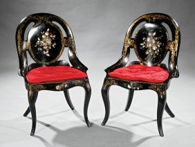 Lacquered Parcel Gilt And Inlaid Gondola Chairs