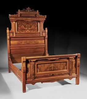 American Aesthetic Carved Burl Walnut Bedstead