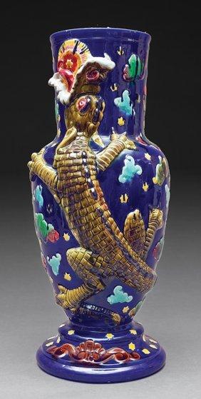 Aesthetic Movement Majolica Baluster Vase