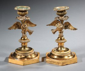 French Gilt Bronze Figural Candlesticks