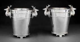 Pair Of Decorative Silverplate Wine Coolers