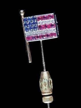 14 Kt. Gold, Ruby, Diamond American Flag Stickpin
