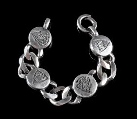 Gucci Silver Curb Link And Medallion Bracelet