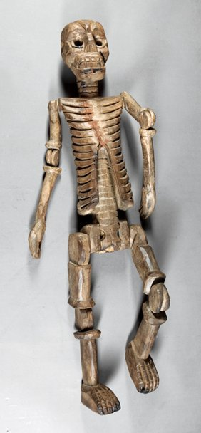 Latin American Carved Wood Skeleton Figure