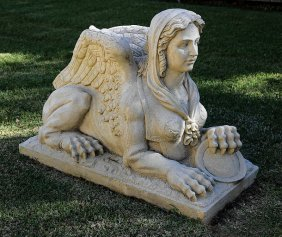Pair Of Classical-style Cast Sandstone Sphinxes