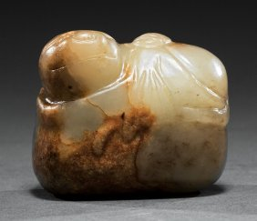 Chinese Green And Russet Jade Toggle