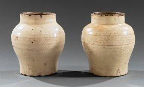 Pair Of Chinese Glazed Stoneware Baluster Jars