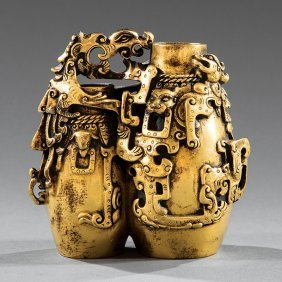 Archaistic Chinese Gilt Bronze Double Vase
