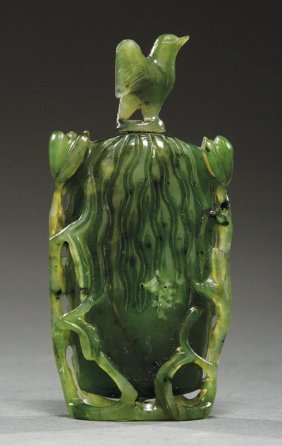 Chinese Spinach Green Jade Snuff Bottle
