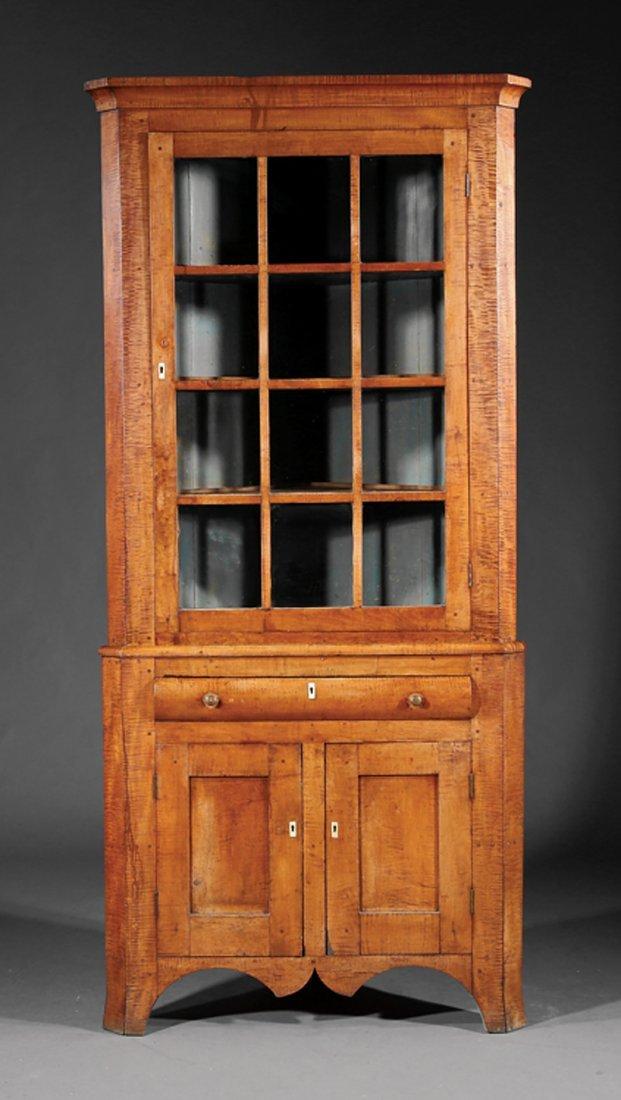 American Late Federal Tiger Maple Corner Cabinet