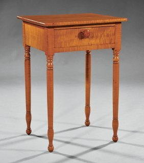 American Late Federal Tiger Maple Work Table