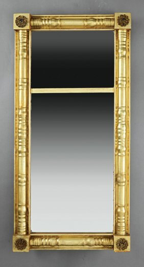 American Federal Brass-mounted Giltwood Mirror