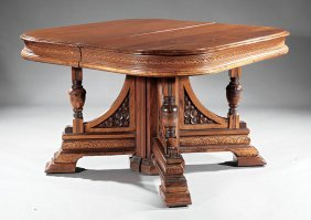 American Carved Walnut Extension Dining Table