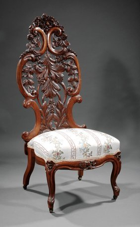 Rosewood Slipper Chair, Attr. Belter
