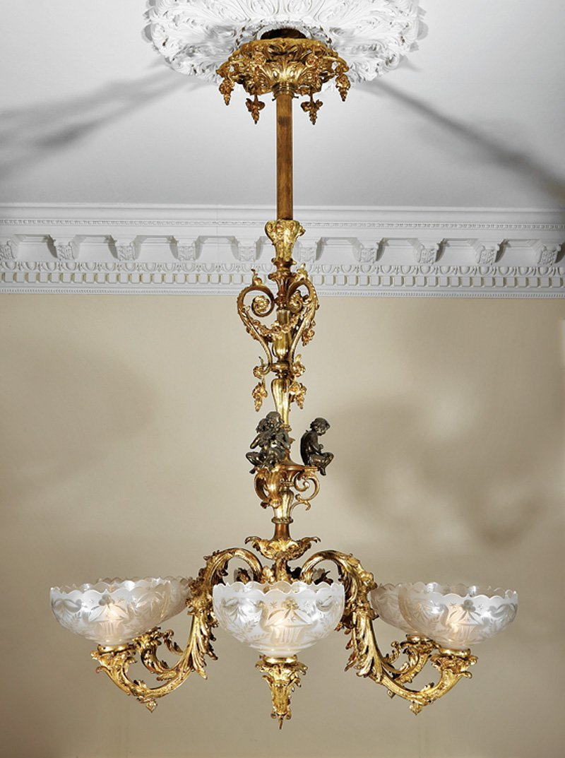 Gilt and Patinated Bronze Six-Light Gasolier