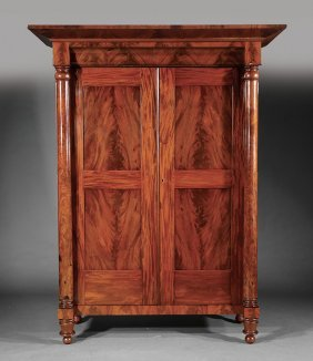 American Classical Carved Mahogany Armoire