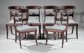 Regency-style Carved Mahogany Side Chairs