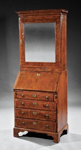 Figured Walnut Slant Front Secretary Bookcase