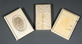 Three Ivory/bone Calling Card Cases
