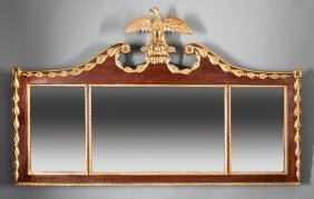 Carved Mahogany And Parcel Gilt Overmantel Mirror
