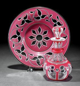 Pink & White Double Overlay Glass Perfume Bottle