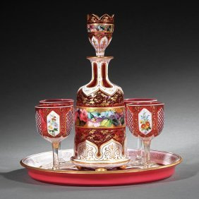 Bohemian White Overlay Ruby Glass Cordial Set