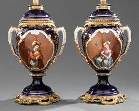 Pair Of Bronze-mounted Paris Porcelain Vases
