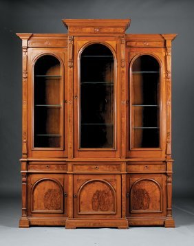 Carved And Burl Walnut Breakfront Bibliotheque