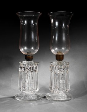 Pair Of Anglo-irish Or American Glass Photophores
