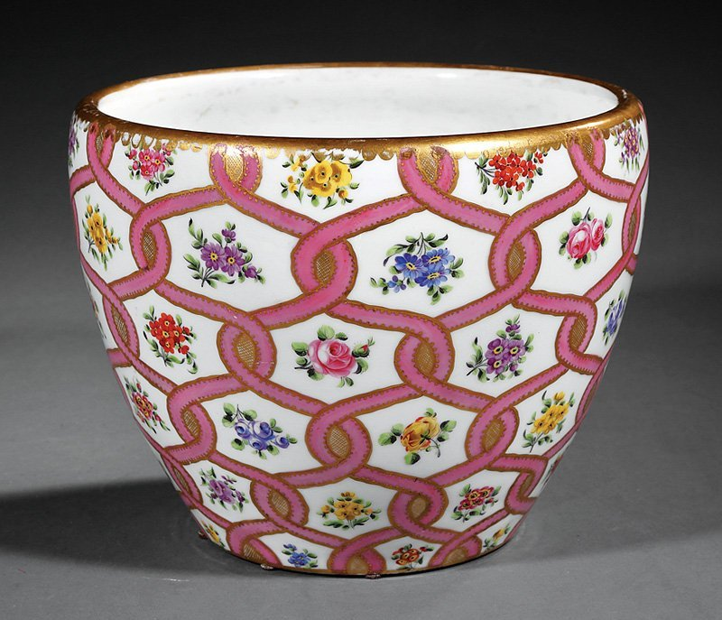 """Sevres """"Rose du Barry"""" Porcelain Cachepot"""