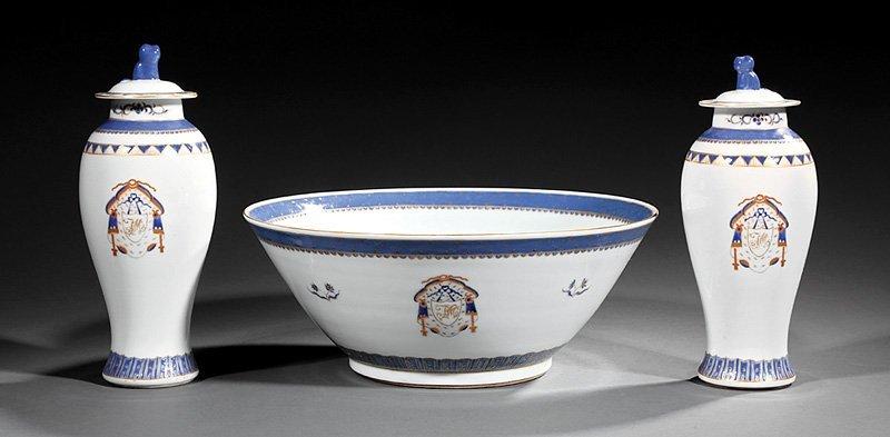 Armorial Porcelain Garniture, possibly Samson